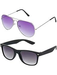 Rhodopsin UV Protected Purple Gradient Aviator And Black Wayfarer Sunglasses For Women (Combo_Purple_Aviator_Black_Wayfarer)
