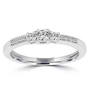 1/3ct Three Stone Round Diamond Engagement Ring 14K White Gold