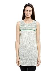 Fabindia Women's Mull Printed Tunic (10306142_Natural and Green_Medium)