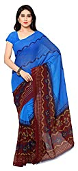 Women's Georgette Saree (Blue and Brown)