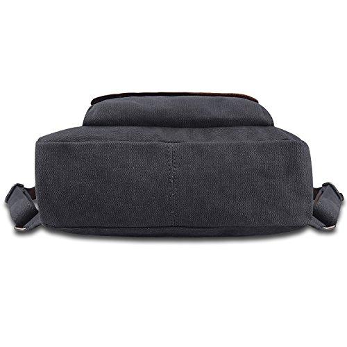 Jack&Chris Vintage Canvas Leather School Backpack Rucksack Bag Daypack,MC2166 5