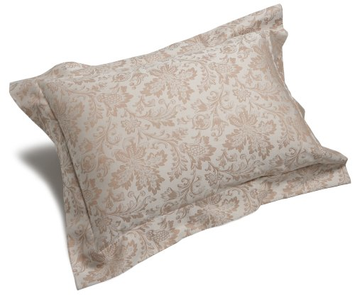 Pinzon Fleur Jacquard Egyptian Cotton Sateen 20-By-36-Inch King Sham, Taupe/Cream