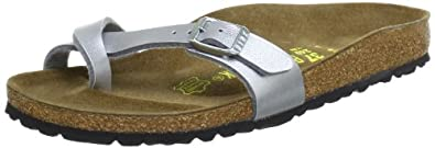 Birkenstock thongs Piazza from Birko-Flor in silver with a narrow insole size 35.0 N EU