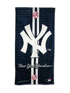 New york yankees fiber reactive beach towel for Yankees bathroom decor
