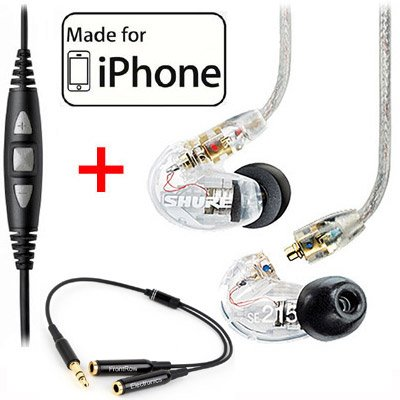 Shure SE215-CL Clear Earphones and CBL-M-+K Music Phone Cable with Remote and Mic for iPone, iPod and iPad