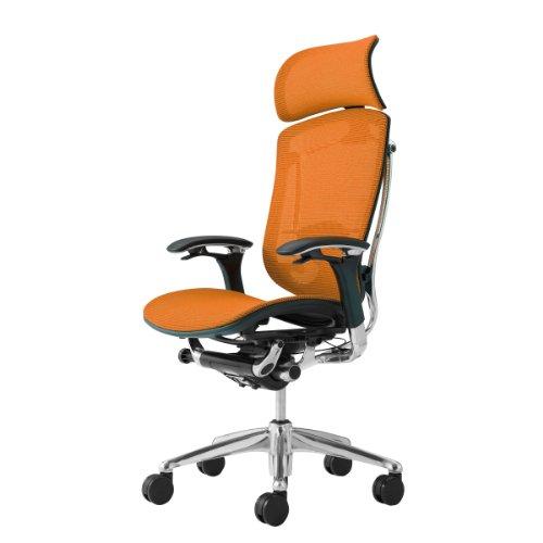 オカムラ オフィスチェア コンテッサ 可動肘 ヘッドレストタイプ 座:メッシュ オレンジ CM91AB-FBH8