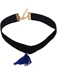 OOMPH's Black,Gold & Blue Tassel Suede Velvet Fashion Jewellery Choker Necklace For Women, Girls & Ladies For...