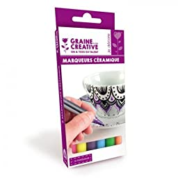 6 ceramic markers - bright colors