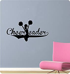 44 cheerleader girl pom poms silhoute jump for Cheerleader wall mural