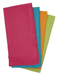 Aunt Martha's Bright Collection Dinner Napkins, Set of 4, Fuchsia, Orange, Lime And Turquoise