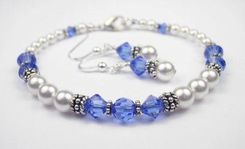 Medium Blue Sapphire Swarovski Crystal Beaded Bracelets with White Pearls - LARGE 8 In.