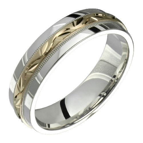 Feuille &#8211; Stunning Two Tone Comfort Fit Wedding Band for Him &#038; Her! Custom Made! Choose your Size.