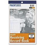 "REDIFORM Receiving Record Book, Carbonless, 5.5 x 7.875"" 50 Duplicates (2L259)"