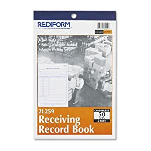 "REDIFORM Receiving Record Book, Carbonless, 5.5 x 7.875"" 50 Duplicates (2L259)"