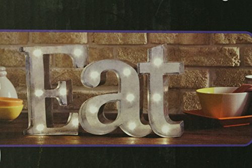 EAT - Illuminated Marquee Word Sign - Metal 16-in x 9-in (Eat Letters For Kitchen compare prices)