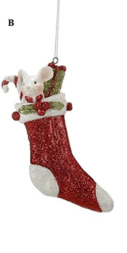 Creative Co-Op Country Christmas Collection Resin Mouse In Stocking Ornament, Choice of Style (B)