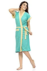 Be You Fashion Double Shaded Green Yellow Cotton Bathrobe