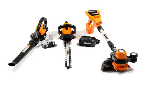 WORX WG901.1 3-Piece 18-Volt Cordless Outdoor Tool Combo Kit with Blower, String Trimmer and Hedge Trimmer