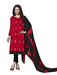 MS trends Women's Cotton Unstitched Dress Material(Aashiqui gold 61016_Red_Free Size)