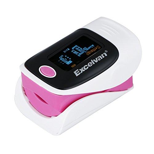 Excelvan Blutsauerstoffmessung messer Fingerpulsoxymieter Finger Pulse Oximeter Blutsauerstoffmessgerät SPO2 Sauerstoffmessgerät Blut mit Farbiger OLED-Anzeige Pink