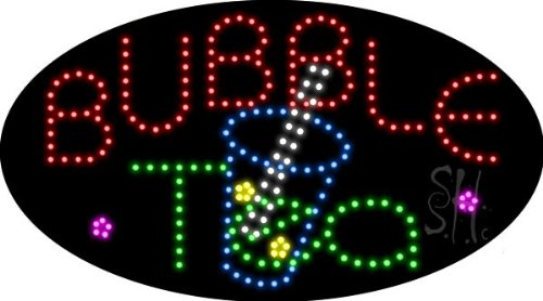 "Bubble Tea Animated Outdoor Led Sign 15"" Tall X 27"" Wide X 3.5"" Deep"