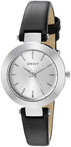 DKNY Stanhope Silver Dial Black Leather Ladies Watch NY2298
