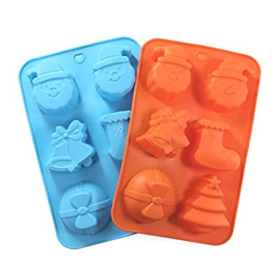 Cake Bread Molds, 2PCS YYP [6 Cavity Christmas Hat Shape Mold] Silicone Cake Bread Making Mold for Home Baking - Reusable Silicone DIY Baking Molds for Chocolate, Jelly, Candy, Cake or More, Set of 2