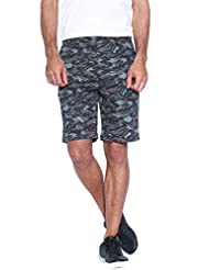 BLUE WAVE MEN'S BLACK AND GREY CAMO PRINTED SHORTS