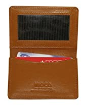 "MW30070-TN Genuine New Leather Credit Card Holder ID Window 2.75"" x 4"" Tan Wallet"