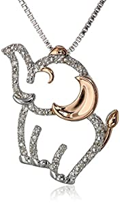 XPY Sterling Silver, 14k Rose Gold, and Diamond Elephant Pendant Necklace (1/17 cttw, I-J Color, I2-I3 Clarity), 18""
