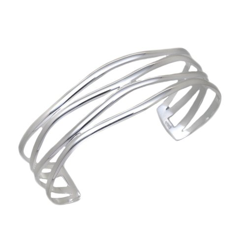 Silver 0854 Fancy Torque Bangle