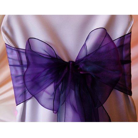 MDS Pack of 25 organza chair sash bow sashes For wedding and Events Supplies Party Decoration chair cover sash -cadbury purple