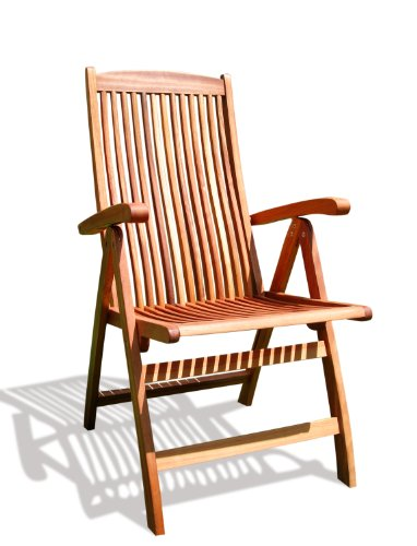 VIFAH V145 Outdoor Wood Folding Arm Chair with Multiple-Position Reclining Back, Natural Wood Finish, 18 by 22 by 41-Inch
