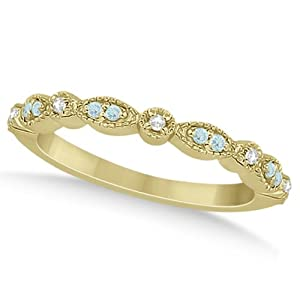 Marquise and Dot Pave-Set Aquamarine and Diamond Milgrain Wedding Band in 18k Yellow Gold 0.25ct