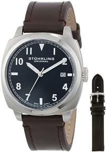 Stuhrling Original Tuskegee Spitfire Watch Set Men's Quartz Watch with Black Dial Analogue Display and Interchangable Black/Brown Leather Strap 770.SET.02