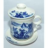 Odishabazaar Teaware White Porcelain Bone Tea Cups Tea Mug (With Lid) Blue Landscape - B016FLSF04