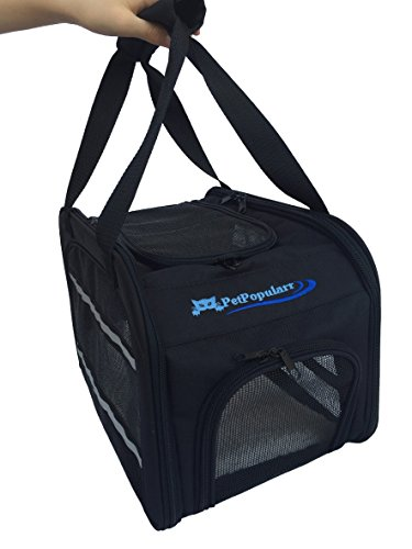 NEW 100% Airline Approved Pet Carrier Black 15.5″ x 10″ x 10″, with Fleece Cushion for any Small Animal!