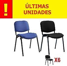PACK 6 SILLAS PRÁCTICA CONFIDENTE/ESPERA OFICINA Y CONFERENCIA DISEÑO CLÁSICO-OFERTAS HOGAR Y OFICINA -ÚLTIMAS UNIDADES - DISPONIBLE EN VARIOS COLORES