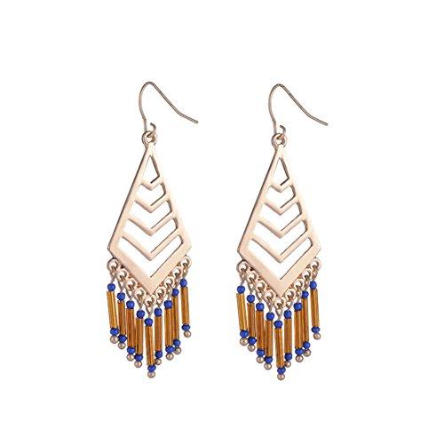 Fantas Casto Indian Style Triangle Tassel Earring 2.6in Long