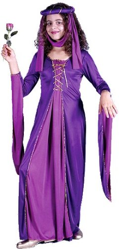 Renaissance Princess Costume with Pink and Purple Royal Gown Child Size M Medium 8-10