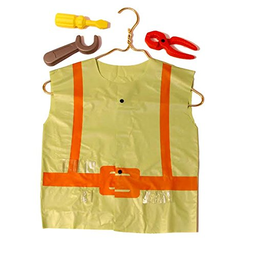 Dazzling Toys Construction Vest and Tool Set - Set Including Some Plastic Construction Tools, As a Screwdriver Etc.