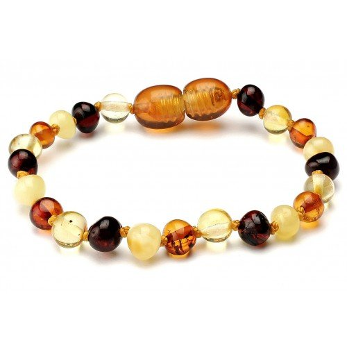 Genuine Natural Baltic Amber Baby Kids Teething Bracelet/Anklet Multicolour4 Baroque By Amber Corner