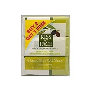 Kiss My Face Pure Olive Oil 8oz Soap Bonus Pack 3 bar