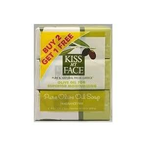 Kiss My Face Pure Olive Oil 8oz Soap Bonus Pack 3 bar