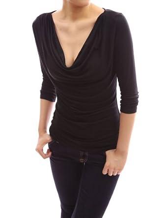 PattyBoutik Unique Drapes Front Cowl Neck 3/4 Sleeve Blouse Top (Black L)