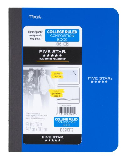 043100091202 - Five Star Composition Book, College Ruled, 1 Subject, 7.5 x 9.75 Inches, 100 Sheets, Corner Tabs, Assorted Colors (09120) carousel main 1