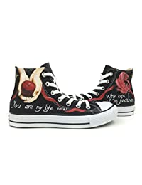 Unisex Apple Feather Converse All Star Shoes Hand Painted High Top Canvas Shoes