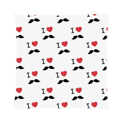 """I Love Mustache White Custom Zippered Pillow Cushion Case Throw Pillow Covers 16""""X16""""(Two Sides) front-1036394"""