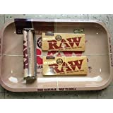 Raw Rolling Tray + Raw 110mm Roller + Raw King Size Rolling Papers Bundle