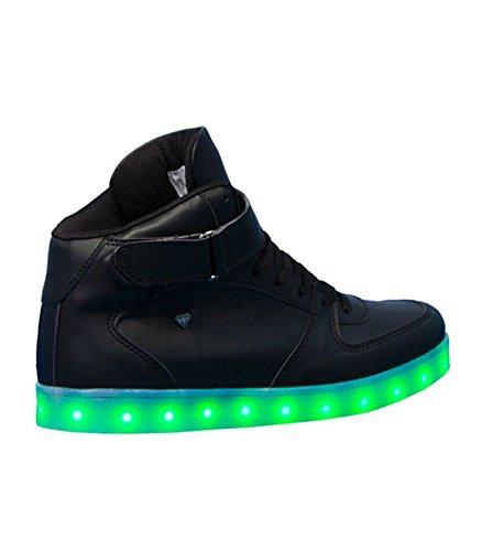 Cash Money - Scarpe Sneakers LED Lampeggiante - Alte Uomo/Donna - CMS37 - USB Carica - 7 Colore - Nero - 39